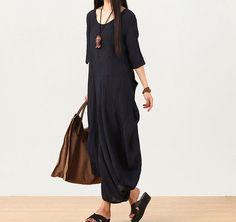 women linen maxi dress short sleeve dress  - Buykud