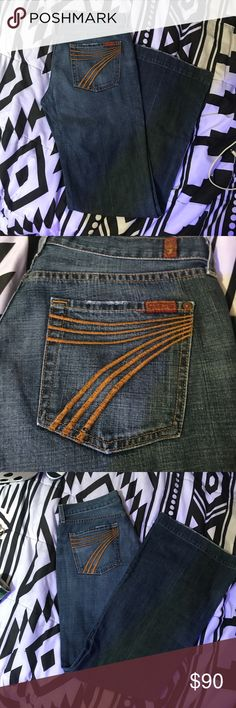 NWOT Seven for all Mankind DOJO DARK DENIM SIZE 30 Washed but never worn Seven for all Mankind Dojo dark denim size 30. Waist laying flat is 16 inches. Inseam is 33inches. Beautiful Jeans I hate to part with. Just don't fit. My loss your gain. 7 For All Mankind Jeans