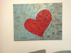 """Headboard"" key to my heart canvas art with crumbled tissue paper and Modge podge heart"