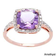 Viducci 10k Rose Gold Gemstone and Diamond Ring (1/5 TDW) (Green Amethyst - Size 7.5), Women's, Blue