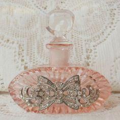 Pink Czech Rhinestone Vintage Jewelry Embellished Perfume Bottle by jana