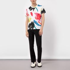 Paul Smith Men's White 'Paintbrush' Print T-Shirt