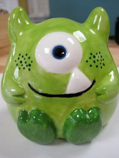 Little Green Monster Bank by ColorMeClayful on Etsy, $16.00