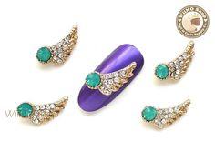 Opal Angel Wing Nail Metal Charm Nail Art - 2 pcs