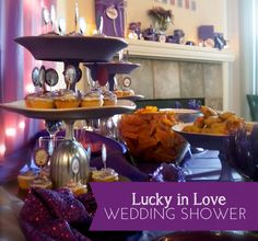 this purple lucky in love bridal shower was the perfect party for a bride heading to vegas