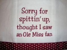 Mississippi State Burp Cloth. $12.00, via Etsy.