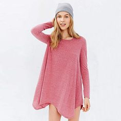 Pink long Sleeve Asymmetrical Loose Dress