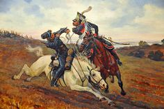 A Polish Lancer battles a Cossack, Napoleon's invasion of Russia, 1812.