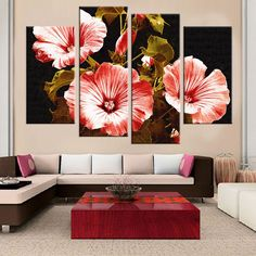 Discover thousands of images about Canvas Painting Flower Print Cuadros Decoracion Modular Painting for Living Room Wall Pictures Unframed Color Availble) Living Room Canvas, Living Room Paint, Canvas Home, Canvas Wall Art, Decorative Metal Screen, Flower Canvas, Cross Paintings, Dream Decor, Acrylic Painting Canvas