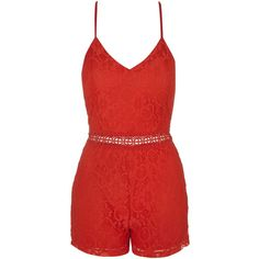 **Strappy Lace Playsuit by Rare (3,025 INR) ❤ liked on Polyvore featuring jumpsuits, rompers, dresses, lo, red, fancy jumpsuits, strappy jumpsuit, lace romper, lace jumpsuits and lace rompers
