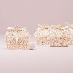 Luscious Foil Lace Favor Box with Ribbon
