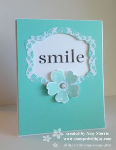 Love this CAS card using the NEW Deco Labels Framelits set from Stampin' Up! Happy Day Smile-001