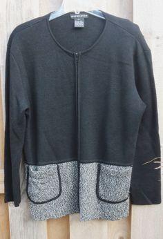 Andrea Jovine Sweater Wool Blend Zip Travel Jacket Blazer Black Heather sz L #AndreaJovine #FullZip #All