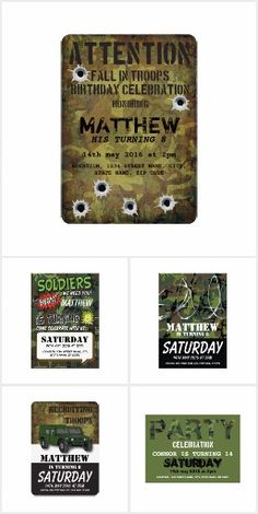 Military army themed boys birthday party invitations make a great addition to any birthday party. Army Themed Birthday, Army Birthday Parties, Army's Birthday, Birthday Ideas, Gi Joe, Zombie Army, Army Party, Birthday Party Invitations, Invites