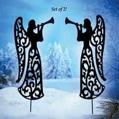 Angel Shadow Garden Stakes - Set of 2