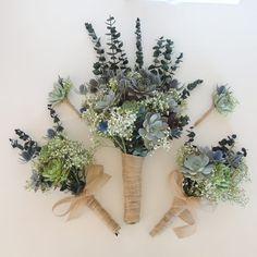 Eucalyptus Succulent Bouquet Ideas For 2019 Eucalyptus Centerpiece, Eucalyptus Bouquet, Succulent Centerpieces, Succulent Bouquet, Eucalyptus Wedding, Wedding Centerpieces, Wedding Decorations, Corsage Wedding, Bridesmaid Bouquet