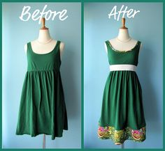 The Ultimate List: 50 Upcycle / Refashion Projects To Inspire You - Creating My . The Ultimate List: 50 Upcycle / Refashion Projects To Inspire You – Creating My Kaleidoscope Refashion Dress, Diy Clothes Refashion, Diy Dress, Refashioned Clothes, Upcycled Prom Dress, Dress Ideas, Thrift Store Diy Clothes, Thrift Store Refashion, Recycled Dress