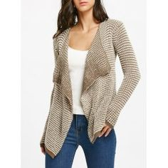 Casual Collarless Long Sleeve Knitted Cardigan For Women - Khaki M Polyester Cardigans