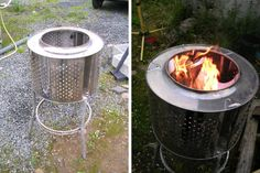 My Dad was making these years ago, so funny to see it online. Use an old washing machine tub (but our version is on an old tire rim) and ta da, instant outdoor fireplace, better than anything you can buy.  We call it a Bubby BBQ. Classy?