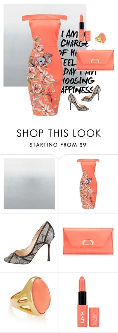 """""""Coral"""" by lindaking67 ❤ liked on Polyvore featuring Jimmy Choo, Christian Louboutin, Kenneth Jay Lane and NYX"""