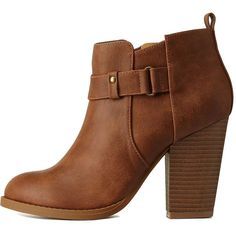 Charlotte Russe Tan Belted Chunky Heel Ankle Booties by Charlotte... ($41) ❤ liked on Polyvore