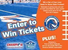 Go Broncos! Like Champion Windows of and enter to win Club Level seats to an upcoming football game, courtesy of the Bronco Athletic Association. Broncos Win, Boise State Football, Association Football, Win Tickets, Cities, Champion, Athletic, Windows, Club