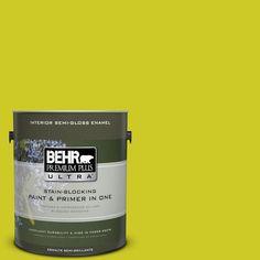 BEHR Premium Plus Ultra 1-gal. #S-G-400 Lime Pop Semi-Gloss Enamel Interior Paint