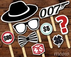 50 Photo Booth Props Printable James Bond 007 Party by wowwowmeow