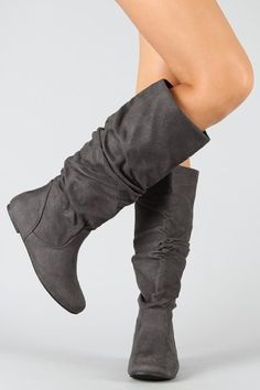 Gray Slouch Boots Flat 9 Tall Suede Leather Pesaro Women Pull On ...