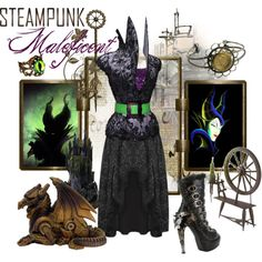 """Steampunk: Maleficent"" by ghsdrummajor Disney Themed Outfits, Disney Bound Outfits, Disney Dresses, Steampunk Cosplay, Steampunk Clothing, Steampunk Fashion, Steampunk Circus, Steampunk Shoes, Casual Cosplay"