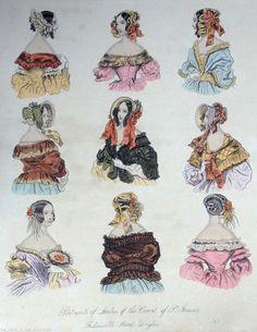 1840s Antique Victorian Hand Coloured Fashion Plate - Ladies Caps Bonnets | eBay