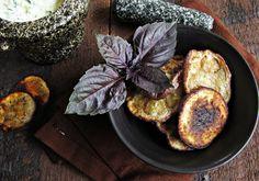 Eggplant Chips with Basil-Yogurt Dip