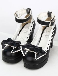 ad50c7fac345 Black Bow PU Prism Heel Lolita Shoes for Girls Chunky Heel Shoes