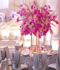 Totally loving this #pink and #gray combo! And the gorgeously draped chair covers too #wedspiration #munaluchibride   #Repost @revelryeventdesign Loving this color palette and dramatic design from Celio at Vibiana! Featuring our #Flowerpaperwall dramatic #drapery and #mirror #tabletops. #regram from Flavia and Katie! Creative Partners: #Planning and Design: @allureeventsatelier   #Photography: @katiebeverleyphoto   Design Planning @allureeventsatelier   #Flowers Design @celiosdesign…
