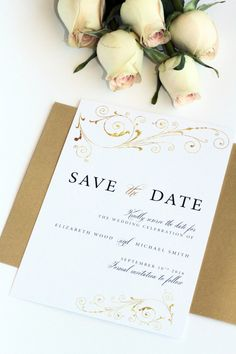 Golden Elegant Save the Date Card, Elegant, Classy, Vectors, Printable or Printed - Your Choice, New by Paradise Invitations by ParadiseInvitations on Etsy