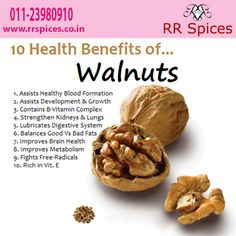 Dry Fruits - Walnuts have many benefits for health, which are offered by RR Spic. Dry Fruits - Walnuts have many benefits for health, which are offered by RR Spices in Delhi, view here top ten health benefits of walnuts. Health Benefits Of Walnuts, Fruit Benefits, Walnut Benefits, Health Diet, Health And Nutrition, Health Fitness, Weight Loss Meals, Healthy Life, Healthy Living