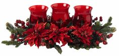 Poinsettia & Berry Silk Triple Candle Candelabrum | 30 inches