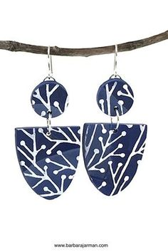 Polymer Clay Lightweight Earrings, Blue and White