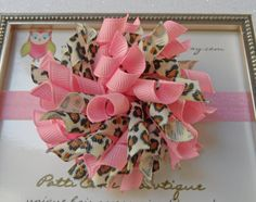 Korker Hair Bow  Pink Leopard Hair Bow with by PattiCakeBowtique, $6.00