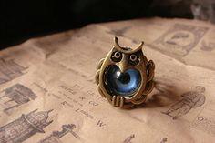 Evil eye owl ring