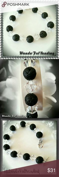 Black Lava & Swarovski Crystal Bracelet This bracelet is made from 10mm black Lava beads, 10mm Swarovski crystal bicone beads and, a silver flower like clasp.  Lava Stone is a stone of protection, strength and fertility, Basalt / Lava Stone provides stability in times of change. It often helps to dissipate anger and provide guidance and understanding.   This nice bracelet is about 7.5 inches  Handmade item  Materials: Lava Beads, Swarovski crystal bicones, Silver flower like clasp…