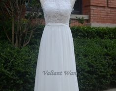 Ivory Lace Empire Waist Chiffon Wedding Dress Floor by Valiantwang