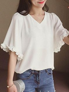 Women's V neck flare sleeve plain blouse 12865603 - blouse Stylish Tops, Trendy Tops, Blouse Styles, Blouse Designs, Sleeves Designs For Dresses, Blouse Models, Indian Designer Outfits, Beautiful Blouses, Mode Outfits