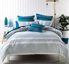 Pacey Quilt Cover Set Range Blue - Quilt Covers - Bed
