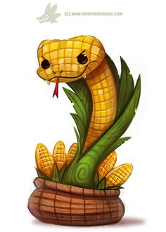 Daily Paint #1172. Corn on the Cobra, Piper Thibodeau on ArtStation at https://www.artstation.com/artwork/KzgV4