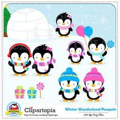 Penguin Clipart / Winter penguin wonderland digital by ClipArtopia, $5.00