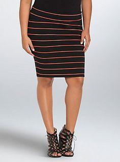 Plus Size Striped Foldover Midi Skirt, BLACK-CORAL STRIPE