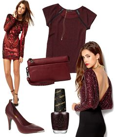 Party outfit inspired by oxblood red