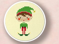 Happy Christmas Elf Boy. Cross Stitch Pattern PDF por andwabisabi