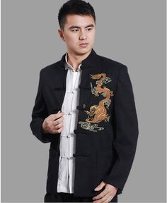 dress shirt collar type on sale at reasonable prices, buy 2013 NEW ! Chinese Dragon Embroided Tang Suit, Tangzhuang Men, Men Suit Shirts, Unique Design Tang Dress from mobile site on Aliexpress Now! Chinese Suit, Chinese Style, Chinese Clothing Traditional, Traditional Outfits, Suit Shirts, Casual Shirts, Oriental Fashion, Oriental Style, Mens Suits